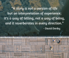 """""""A story is not a version of life but an interpretation of experience; it_s a way of telling, not a way of being, and it reverberates in every direction."""" David Denby"""