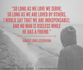 """""""So long as we love we serve; so long as we are loved by others, I would say that we are indispensable; and no man is useless while he has a friend."""" -Robert Louis Stevenson"""